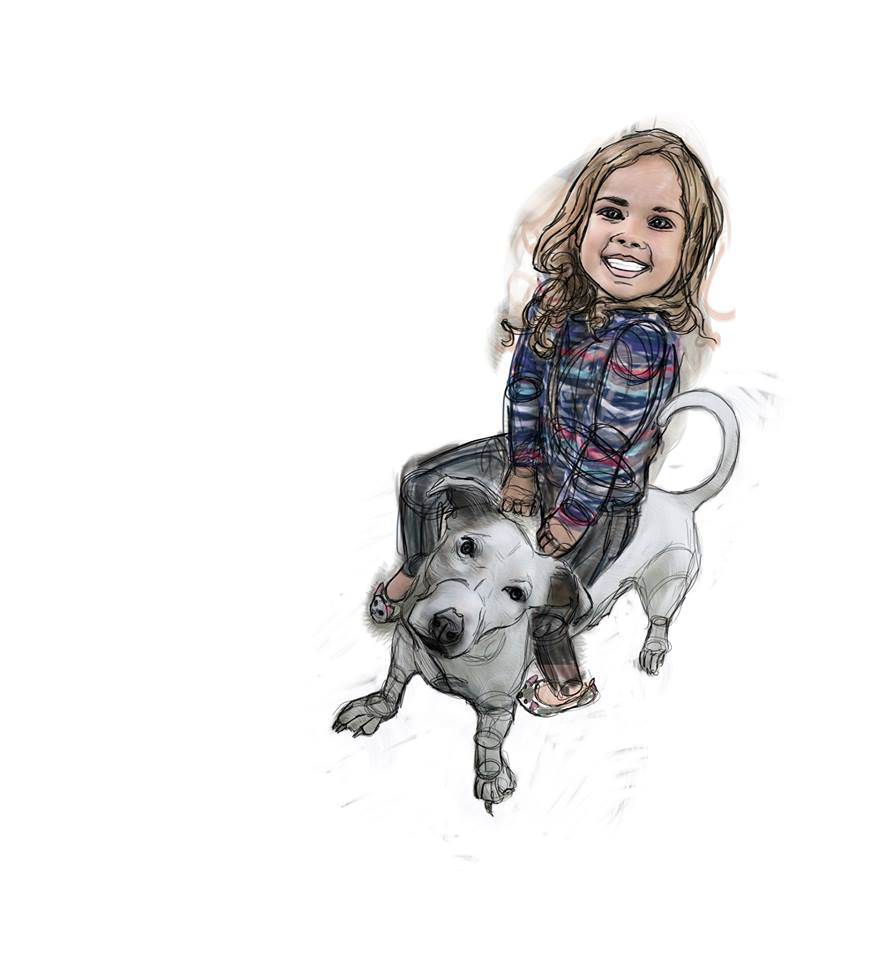 ♡♥♡ She was an azmsing little artist ♡ She did such a great job containing her creative vibes ♡ In this drawing: Matilda and Bianca the dog, are about to go on an exhilarating jurney through time and space ♡♥♡