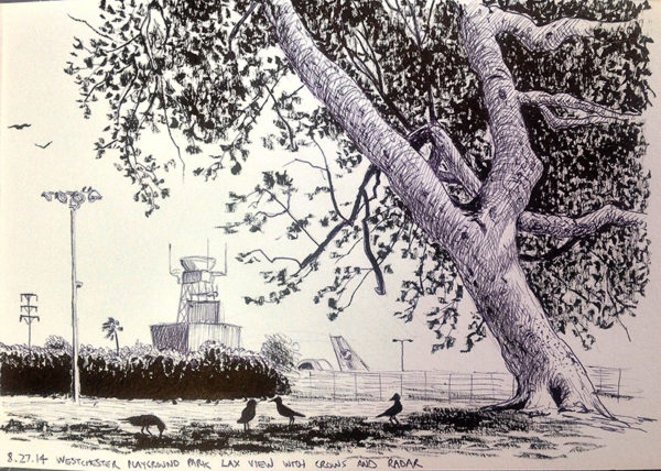 "Cole Case Title: Westchester Park LAX View with Crows and Radar 8.27.14 Medium: ink on paper Date of work: 2014 Size: 9.25"" x 11.25"" x 1.25"" (framed) Signed verso and framed Retail value: $800 Winning Bid: $275.00"