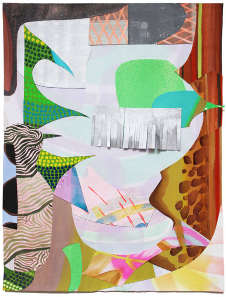 """Sarajo Frieden Title: Untitled 707A Medium: acrylic, gouache, flashe on cut paper Size: 15"""" H x 11.25"""" W Signed verso Retail value: $600 Winning Bid: $100.00"""