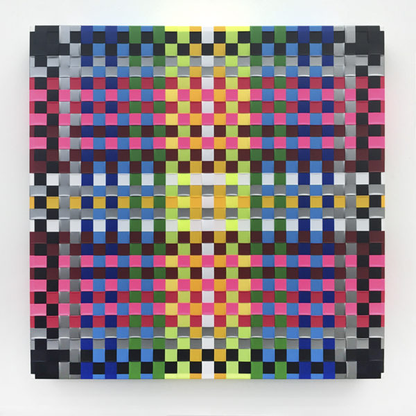 "Megan Geckler Title: The poison black arts Medium: Woven flagging tape on gessoed canvas panel Date of work: 2015 Size: 16"" x 16"" x 1.75"" Signed verso Retail value: $3000"