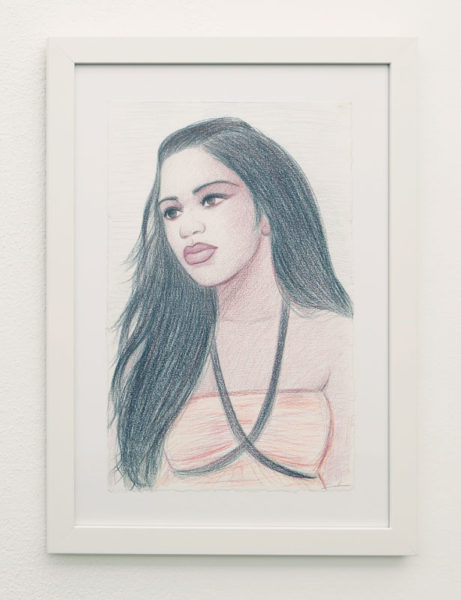 "Salomon Huerta Title: Amber Medium: Colored pencil on paper Date of work: 2014 Size: 17"" H x 11"" W Signed lower right and framed Retail value: $1600 Winning Bid: $600.00"