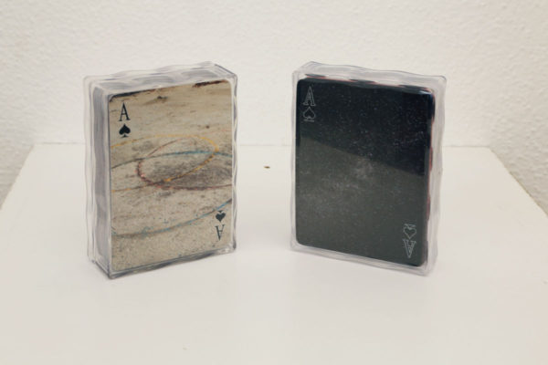 "Tricia Lawless Murray Title: Untitled Medium: 2 decks of cards Date of work: 2014 Edition: 16/500 Size: 4"" x 2.5"" x 1"" Retail value: $80 Winning Bid: $25.00"