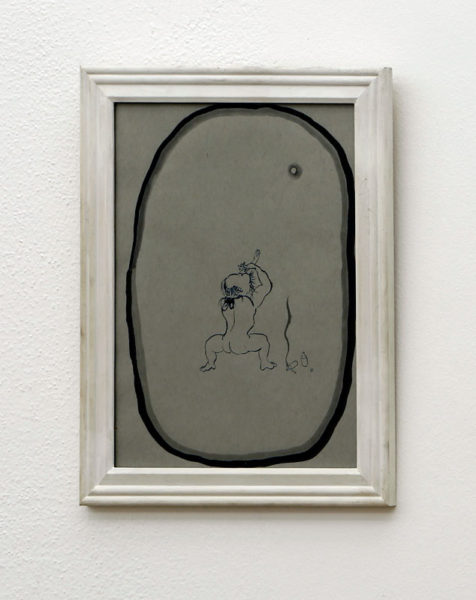 """Hyung Mo Lee Title: Martial Arts Practice Under Smoke, Drink, Moon Medium: sumi ink on archival paper Date of work: 2016 Size: 15"""" H x 12"""" W x 0.75"""" D (framed) Signed verso and framed Retail value: $500 Winning Bid: $175.00"""