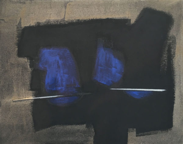 """Ron Linden Title: Sweet Little Blue Medium: charcoal, acrylic, canvas Date of work: 2016 Size: 11"""" H x 14"""" W Signed verso Retail value: $1400"""