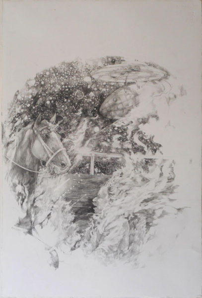 """Kelly McLane Title: """"Burning 4 U"""" Medium: Graphite on Paper Date of work: 2016 Size: 15""""x 22.5"""" Signed verso Retail value: $2400"""