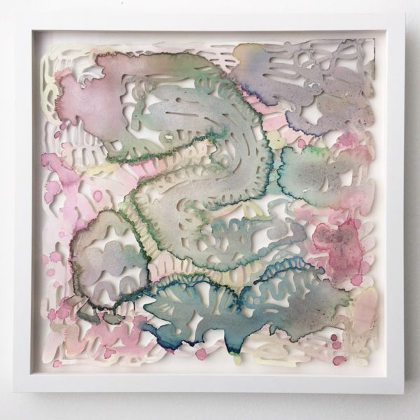 "Chris Natrop Title: baby cloud machine 3 Medium: watercolor and glitter on paper Date of work: 2016 Size: Approx. 18"" x 18"" (framed) Signed verso and framed Retail value: $800"