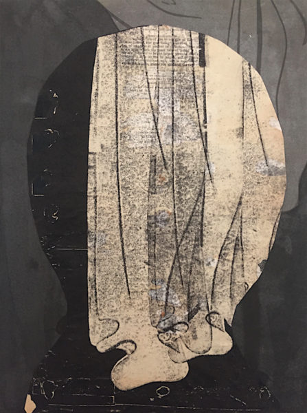 "Stas Orlovski Title: Head with Curtain Medium: Monoprint, ink, graphite and collage on paper Date of work: 2014 Size: 14.5"" x 11"" Retail value: $1900"