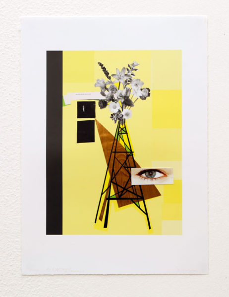 "Renee Petropoulos Title: Monument Bouquet: NATO Flowers (with grey) Medium: ink jet print with collage Date of work: 2015-16 Size: 16"" H x 11 7/8"" W Signed front corner Retail value: $1000"