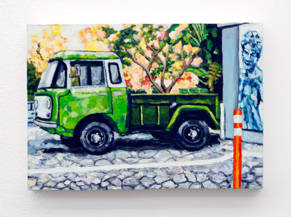 "Matthew Scarlett Title: Santa Monica Historic Truck on Fire Medium: Oil and Acrylic on Panel Date of work: 2012 Size: 10"" x 14"" x 1.75"" Signed bottom right Retail value: $1000"
