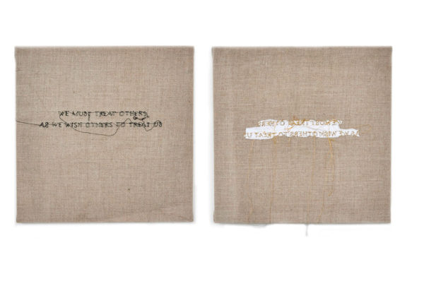 "Nike Schroeder Title: We must treat others 1+2 Medium: thread on linen Date of work: 2015 Size: 12"" x 12"" each (diptych) Signed verso Retail value: $1200 Winning Bid: $325.00"