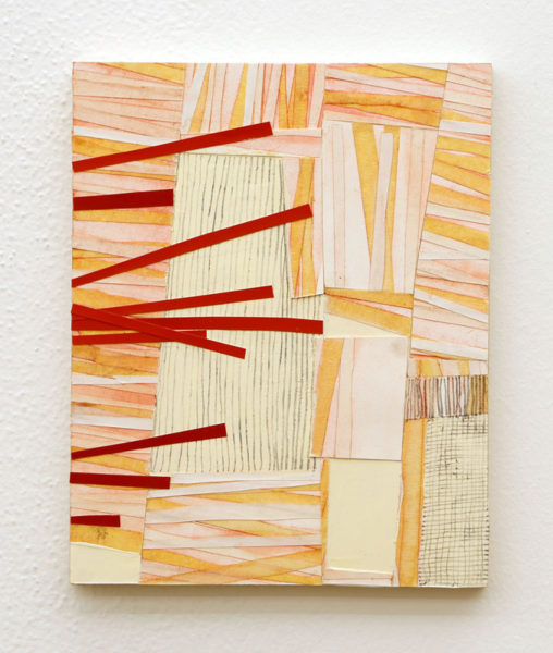 "Coleen Sterritt Title: Untitled (Stacked Study #1) Medium: masking tape, paper, pastel, oil and graphite on panel Date of work: 2013 Size: 10""H x 8""W Signed signed on back and framed Retail value: $1500 Winning Bid: $600.00"