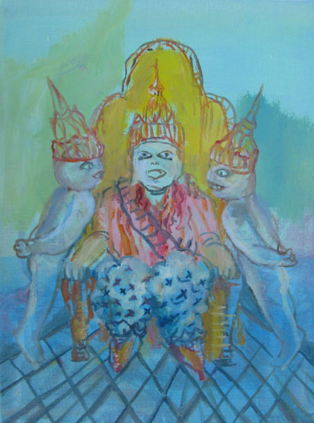 "Sayon Syprasoeuth Title: Advising the King no. 2 Medium: oil on linen Date of work: 2012 Size: 10"" x 8"" x 0.5"" Signed verso Retail value: $400"