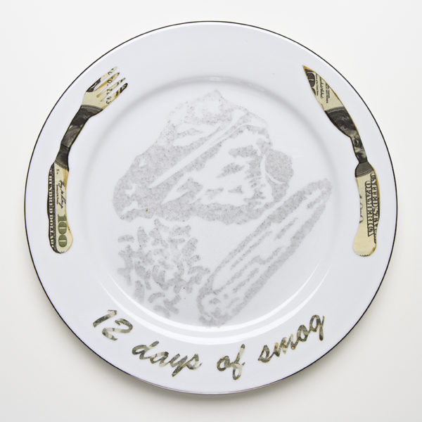 "Kim Abeles Title: Steak Dinner in 12 Days of Smog Medium: Smog (particulate) on porcelain dinnerplate; digital of currency Date of work: 2015 Size: 10.5"" x 10.5"" Retail value: $550 Winning Bid: $350.00 Item condition: New"