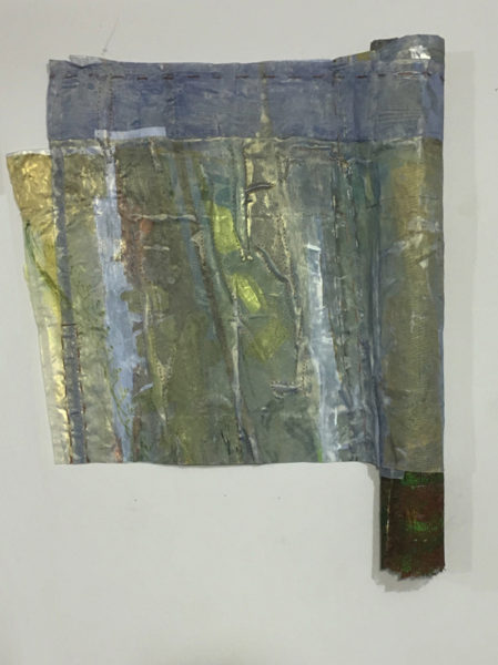 """Arezoo Bharthania Title: It is spring 2016 Medium: Acrylic, spray paint, ink, newspaper, fabric, wire Date of work: 2016 Size: 25"""" x 22"""" x 2"""" Retail value: $400"""