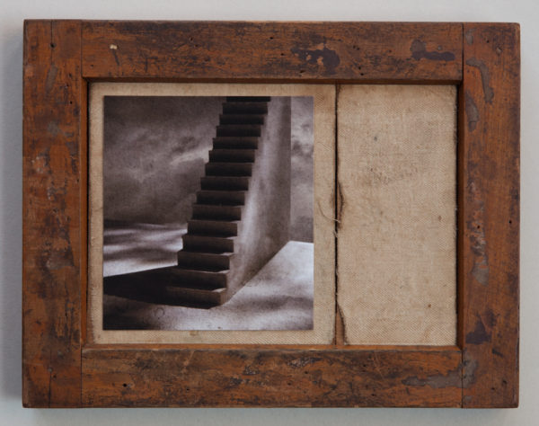 "Ann Mitchell Title: Stairway Medium: Vintage wooden proof-frame, archival digital pigment print Date of work: 2016 Edition: Photo with vintage proof frame Size: 7"" x 9"" x 1"" (framed) Signed verso Retail value: $225 Winning Bid: $125.00"